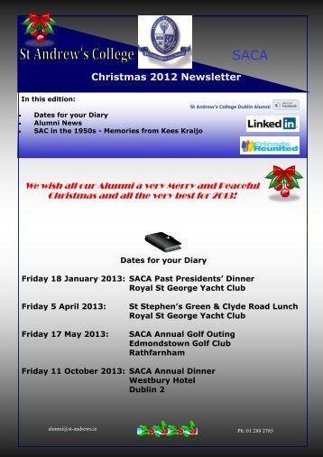Christmas 2012 Newsletter - St. Andrew's College, Dublin
