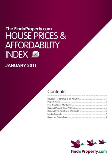 Findaproperty.com House Prices and Affordability Index January 2011