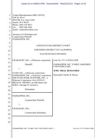 Padmapper Amended Counterclaim - December 21, 2012 - 3Taps