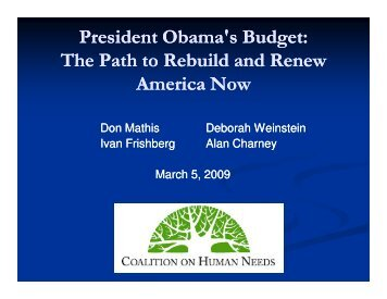 President Obama's Budget - Coalition on Human Needs