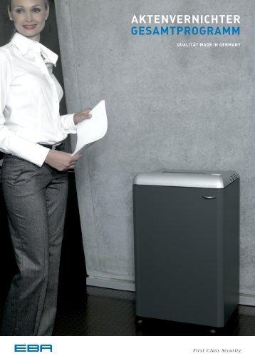 EBA Aktenvernichter Katalog 2012