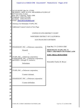 3TAPS, INC.'S FIRST AMENDED COUNTERCLAIM Case No. CV-12 ...
