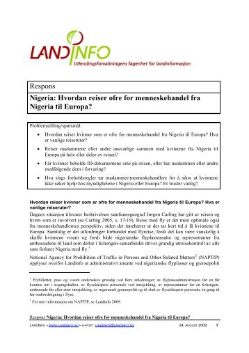 Nigeria: Hvordan reiser ofre for menneskehandel fra ... - LandInfo
