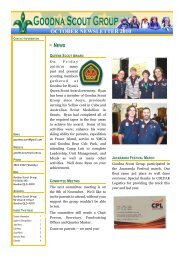 Goodna Scout Group - August Newsletter 2010