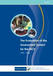 Evaluation of the Assessment System for the NCV - Umalusi