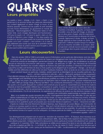 quarks s et c - L'aventure de la physique des particules