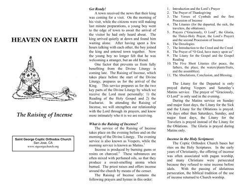 The Raising of Incense - Saint George & Saint Joseph Coptic
