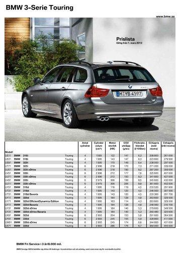 Den aktuella prislistan för BMW 3-serie Touring