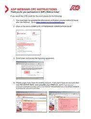 ADP WEBINAR CPE INSTRUCTIONS - SmartPros Accounting