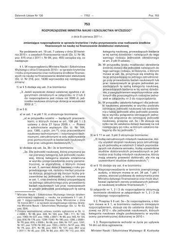 Rozporządzenie Ministra Nauki i Szkolnictwa Wyższego ...