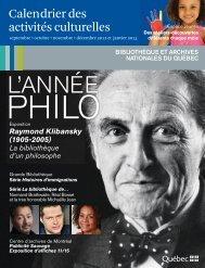 Calendrier des activités culturelles - Bibliothèque et Archives ...