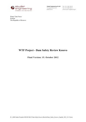 WTF Project - Dam Safety Review Kosovo