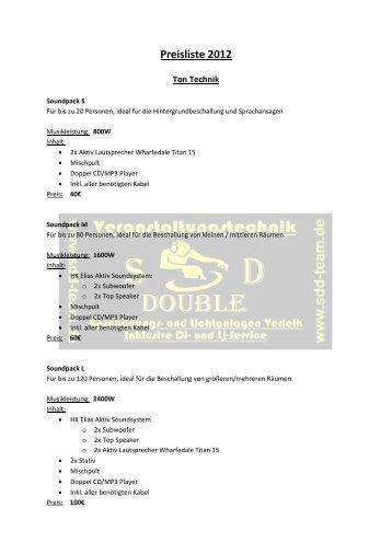 Preisliste 2012 - SDD-DJ-Team
