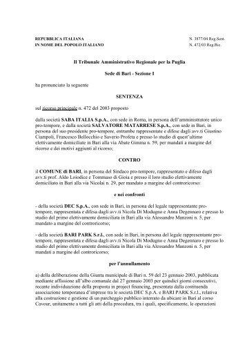 T.A.R. Puglia - UTFP