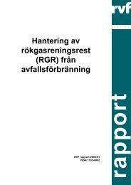 Hantering av rökgasreningsrest (RGR) från ... - Avfall Sverige