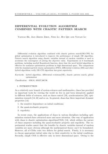 differential evolution algorithm combined with chaotic ... - Kybernetika