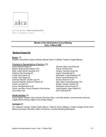 Minutes of the Administrative Council Meeting ... - AICA international