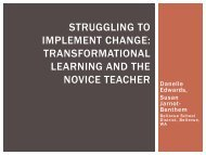 transformational learning and the novice teacher - Bellevue School ...