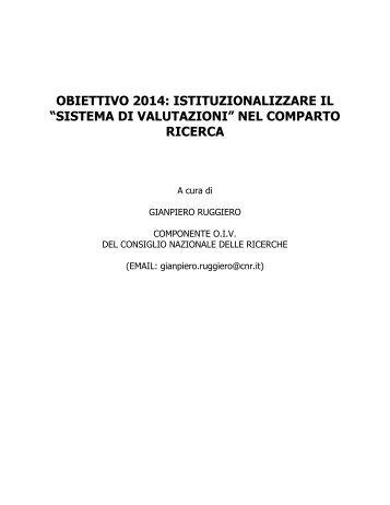 """OBIETTIVO 2014: ISTITUZIONALIZZARE IL """"SISTEMA DI VALUTAZIONI"""" NEL ..."""