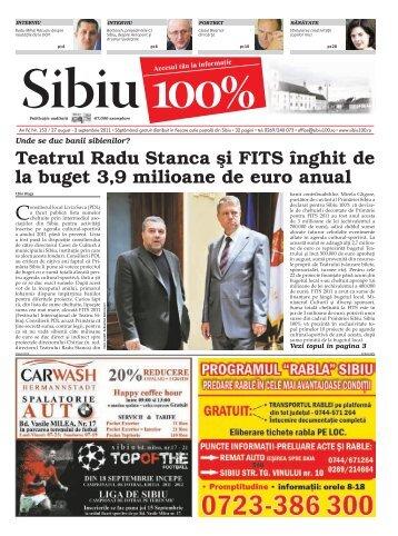 Teatrul Radu Stanca şi FITS înghit de la buget 3,9 ... - Sibiu 100