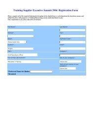 Training Supplier Executive Summit 2006: Registration Form