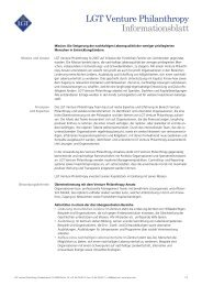 LGT Venture Philanthropy Informationsblatt - LGT Capital ...