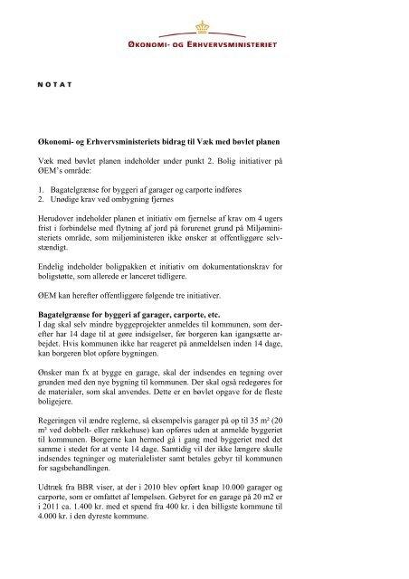 Økonomi- og Erhvervsministeriets bidrag til Væk med bøvlet planen ...