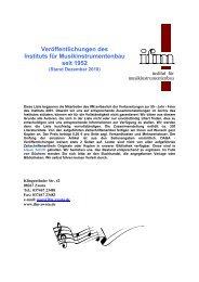 Veröffentlichungen des Instituts für Musikinstrumentenbau seit 1952