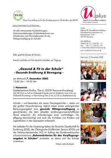 """""""Gesund & Fit in der Schule"""" - Schule + Essen = Note 1"""