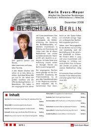 Bericht aus Berlin Dezember 2008 - Karin Evers-Meyer