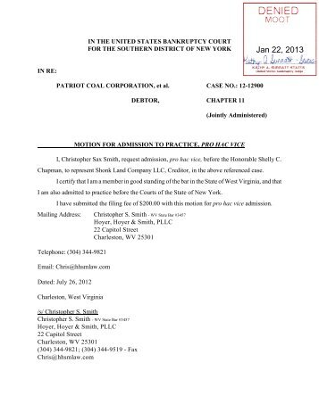 Order Denying Motion To Appear pro hac vice - patriot coal case ...