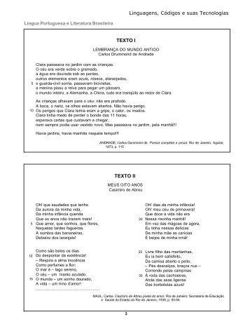 Linguagens, Códigos e suas Tecnologias TEXTO I TEXTO II - Uff