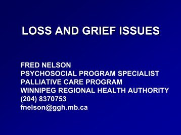 LOSS AND GRIEF ISSUES - Palliative Care