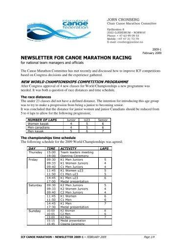 ICF Marathon News - Feb 09 - Canoe England