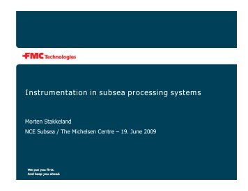 Instrumentation in subsea processing systems - NCE Subsea