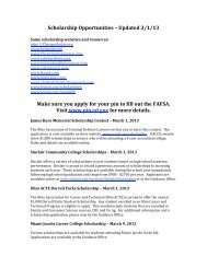 Scholarship Opportunities – Updated 3/1/13 Make sure you apply for ...