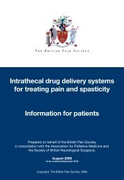 Intrathecal drug delivery systems - The British Pain Society