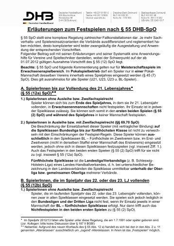 Erläuterungen zum Festspielen nach § 55 DHB-SpO... - Badischer ...