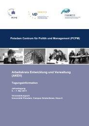 Programm der AKEV-Tagung - GeoGovernance