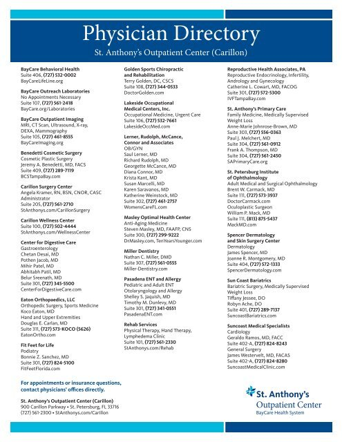 Outpatient Center Physician List St Anthony S Hospital
