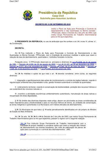 Decreto - Institui o Plano de Ação para Prevenção e Controle ... - Udop