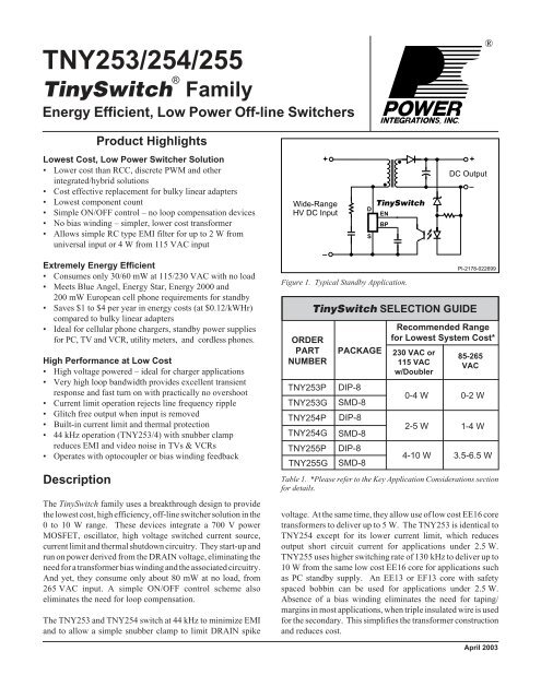 AC//DC Converter IC 11 W TinySwitch-II Family 265 VAC Flyback 85 VAC SMD-8