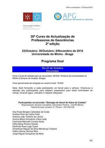 Programa Final e Lista de Participantes - Departamento de Ciências ...