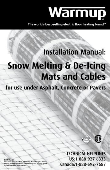 Snow Melting & De-Icing Mats and Cables for use under ... - Warmup