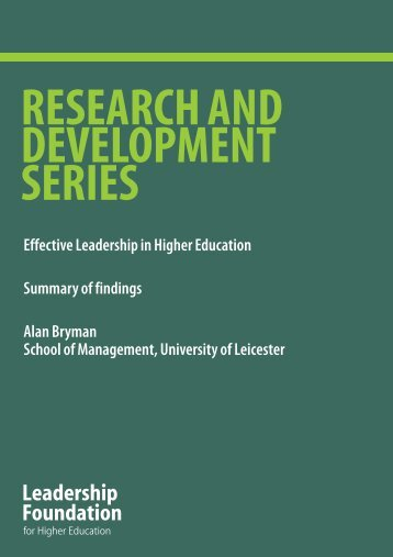 Effective Leadership in Higher Education Summary of findings Alan ...