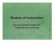 MOdels of Instruction - University of Mount Union