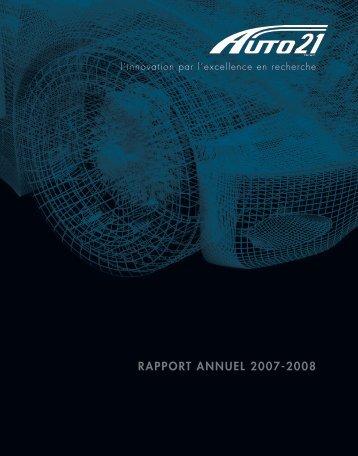 RAPPORT ANNUEL 2007-2008 - AUTO21