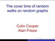 The cover time of random walks on random graphs Colin Cooper ...