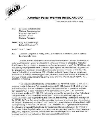 American Postal Workers Union, AFL-CIO - APWU