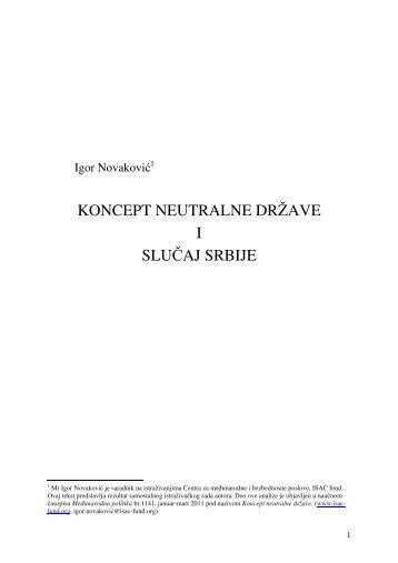 KONCEPT NEUTRALNE DRŽAVE I SLUČAJ SRBIJE - ISAC Fund
